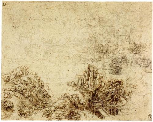 Leonardo da Vinci, Tempesta e marea montante su una baia con castello e viadotto
