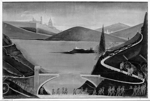 Orneore Metelli-Paesaggio con soldati coloniali