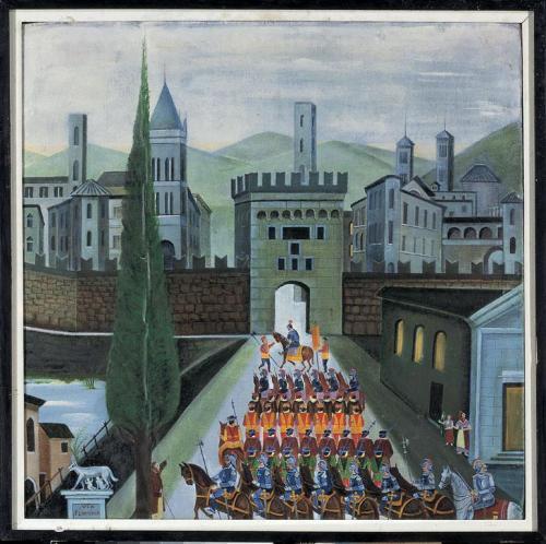 Orneore Metelli-Porta Garibaldi con soldati antichi