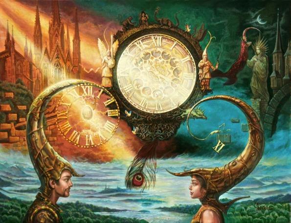 1042x800_14657_Clock_2d_fantasy_landscape_surrealism_river_modern_art_picture_image_digital_art