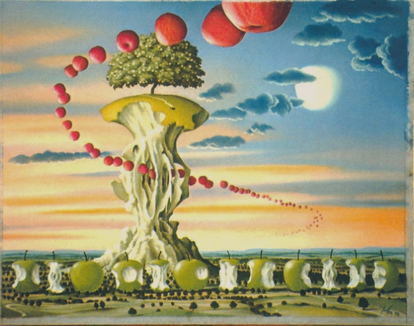 A-surrealist-painting-by-the-polish-fantasy-and-science-fiction-artist-Jacek-Yerka-of-a-landscape-filled-with-apples